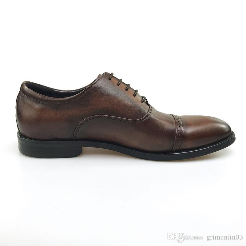 GRIMENTIN İtalyan Moda Erkekler Oxford Ayakkabılar Gerçek Deri Kahverengi Örgün İş Düğün Erkek Ayakkabı Moda İtalyan Erkek Deri Ayakkabı JM