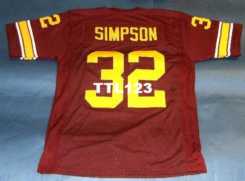 save off a4350 4214e CUSTOM Men #32 OJ SIMPSON USC TROJANS HEISMAN NC RED College Jersey size  s-4XL or custom any name or number jersey