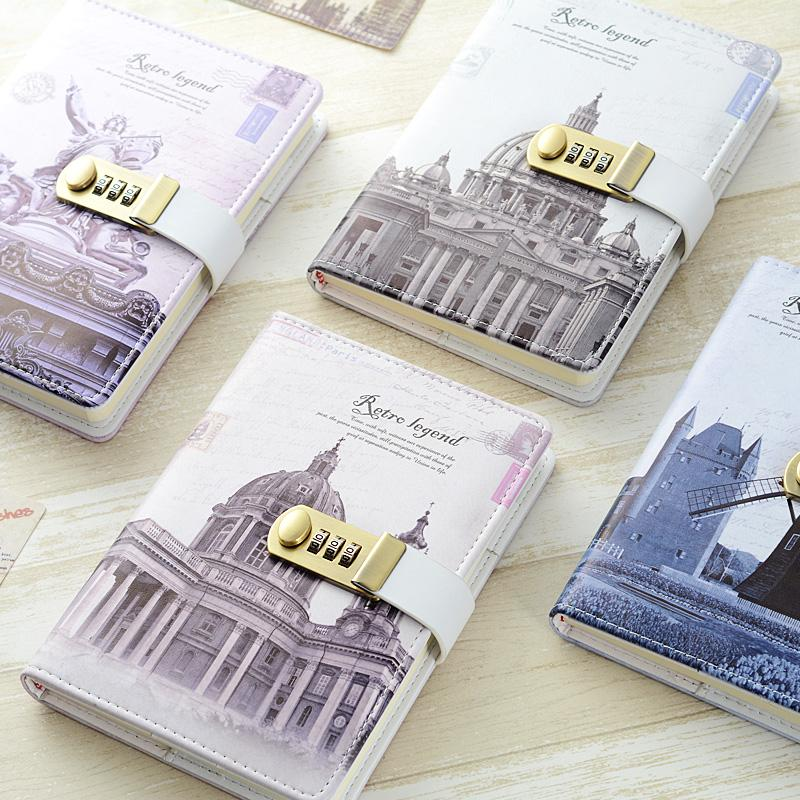 New Leather Diary Notwith lock code Business A5 thick Notepad Daily Memos  Office school supplies gift