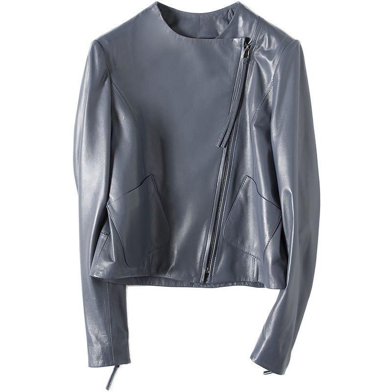 new concept 22e5d 9703d Giacca in vera pelle donna vera pelle di pecora di agnello blu cappotto  femminile corto cappotto femminile autunno e inverno Plus Size 3XL
