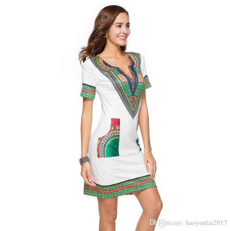 African Dresses For Women Vintage Dashiki Dress Robe Casual African