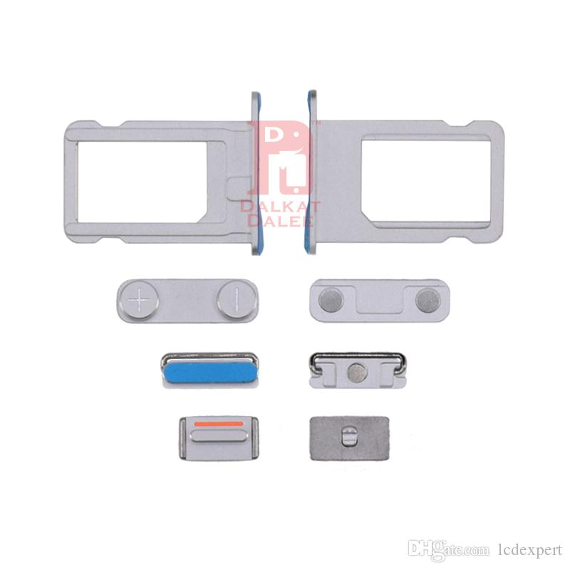 For iPhone SE Power Button Volume Buttons Mute Button Side On Off Button Sets + Sim Card Slot Replacement Spare Part For iphone 5SE