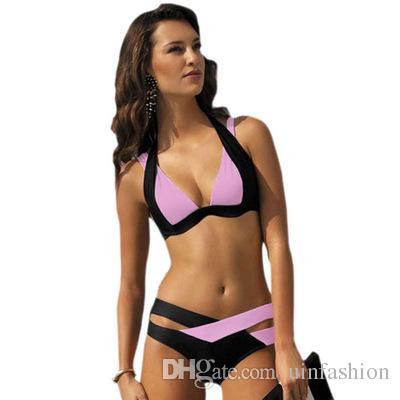 Sexy Top Biquinis Mulheres cintura alta Swimwear Push Up Retro Female Swimsuit Beachwer Bikini Color Block Criss-Cross insolente