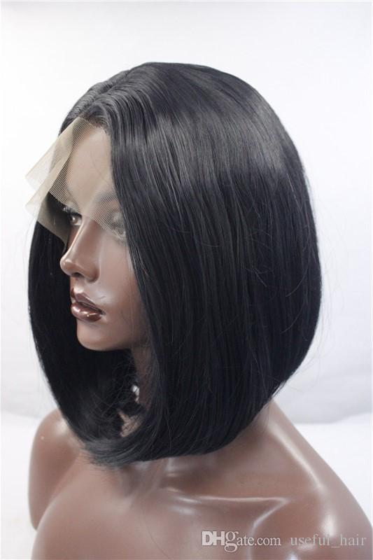 hot sell Middle part BLACK synthetic wIGS lace front wigs high temeprature fiber marley fashion high quality cheap bob wig for black women