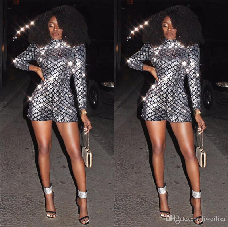 2018 fashion sequin jumpsuits women playsuit slim short summer sexy rompers jumpsuit long sleeve nightclub romper