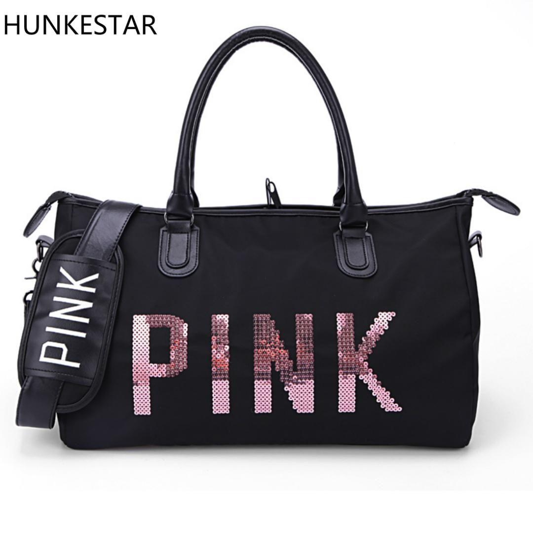 7f121a8c89 2019 2018 Black Sequins Love PINK Duffle Bag VS Women Gym Bags Tote Beach  Handbag Secret Travel Shoulder Bags From Shinyday