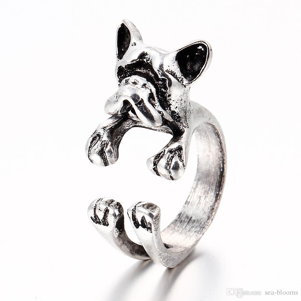 i francese Bulldog Ring Anel Brass Knuckle Dog Ring animale sveglio gli uomini donne regalo gioielli di moda DHL libero D949L