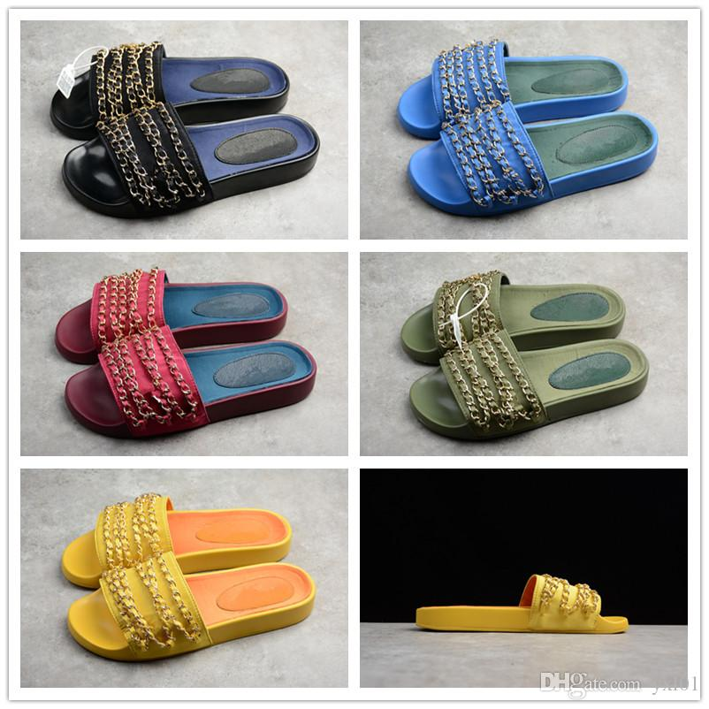 227a90db2ca3 2018 New Arrival Fashion Gold Chain Lady S Flat Slippers Women Sandals Top  Dark Blue Green Yellow Casual Rihanna Fenty Slides Slipper 36 39 Italian  Shoes ...