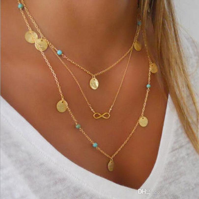Moda caliente oro plateado turquesa múltiples capas tassels lariat bar collares abalorios gargantillas colgantes collares para mujeres bijoux