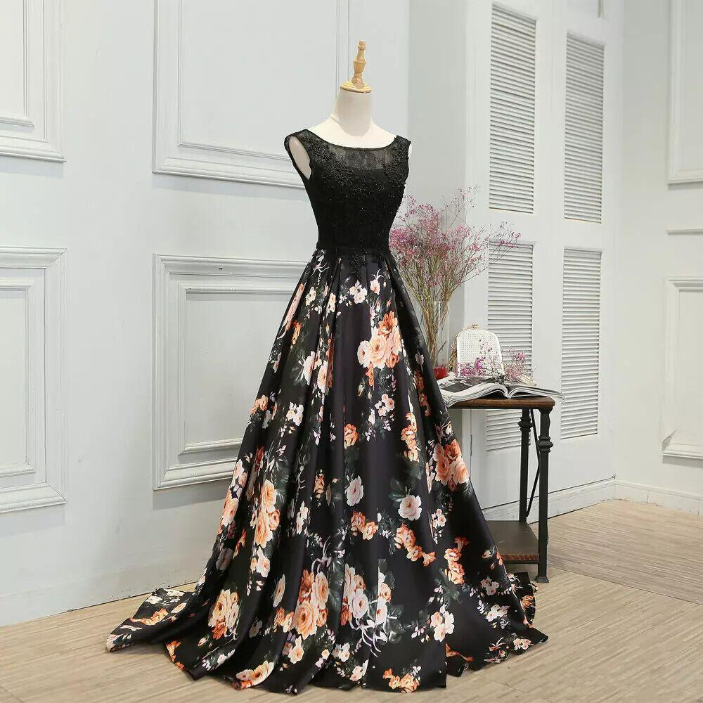 새로운 검은 꽃 인쇄 댄스 파티 드레스 골치 아픈 건 레이스 이브닝 가운 라인 민소매 꽃 패턴 새틴 저녁 파티 여성 공식 파티 드레스