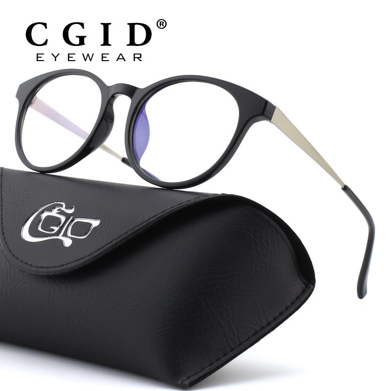 CGID TR90 Computer Glasses Anti Blue Light Radiation Optical Print Glasses Round Black Eyewear Frame PC Glass Men & Women CT28