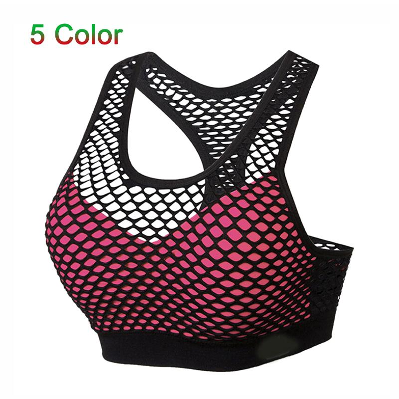 2019 Summer Breathable Mesh Bra Top Women Hollow Out Cross Shockproof Push Up Yoga Bras For Fitness Running Gym Vest Top Newest Running Vests Sports Clothing