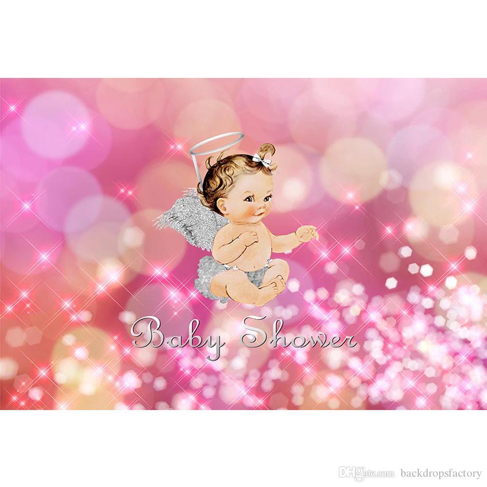 2018 Bokeh Polka Dots Baby Shower Background Pink Newborn