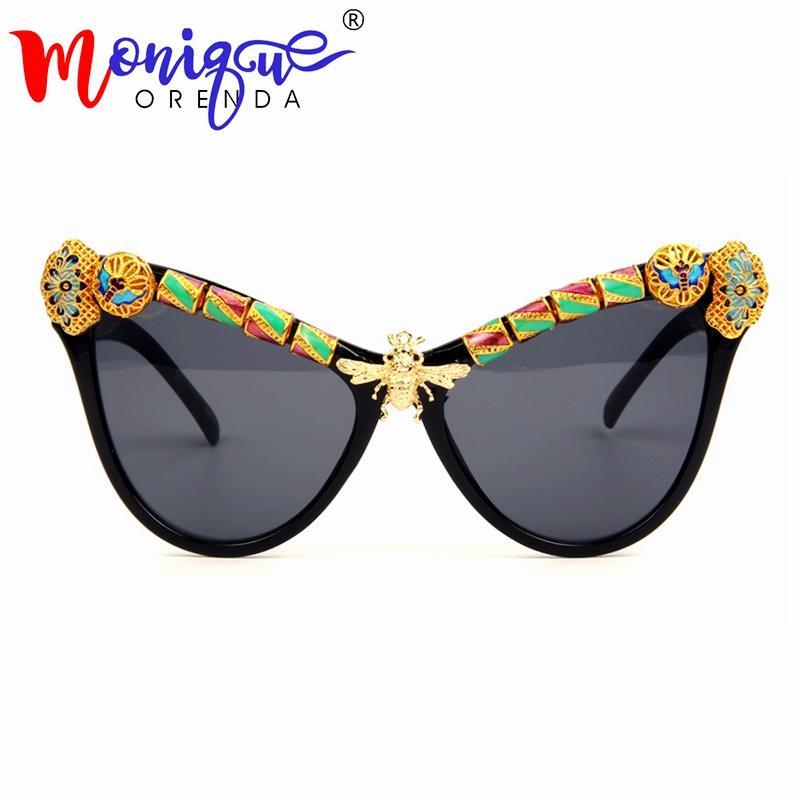 f92f73a61531f Großhandel Hohe Qualität Cat Eye Sonnenbrille Frauen Luxus Arabischen  Handwerk Kupfer Biene Marke Sonnenbrille Vintage Shades Weibliche Oculos De  Sol Von ...