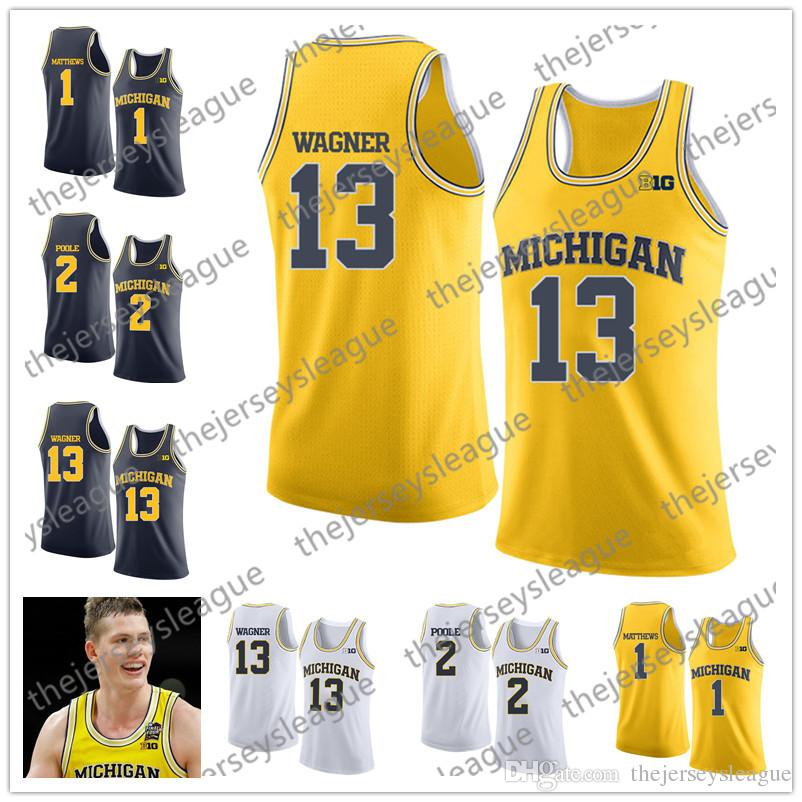 306e59f0616b42 2019 NCAA Michigan Wolverines  13 Moritz Wagner 2 Poole 1 Charles Matthews  2018 Final Four White Navy Yellow Stitched College Basketball Jersey From  ...
