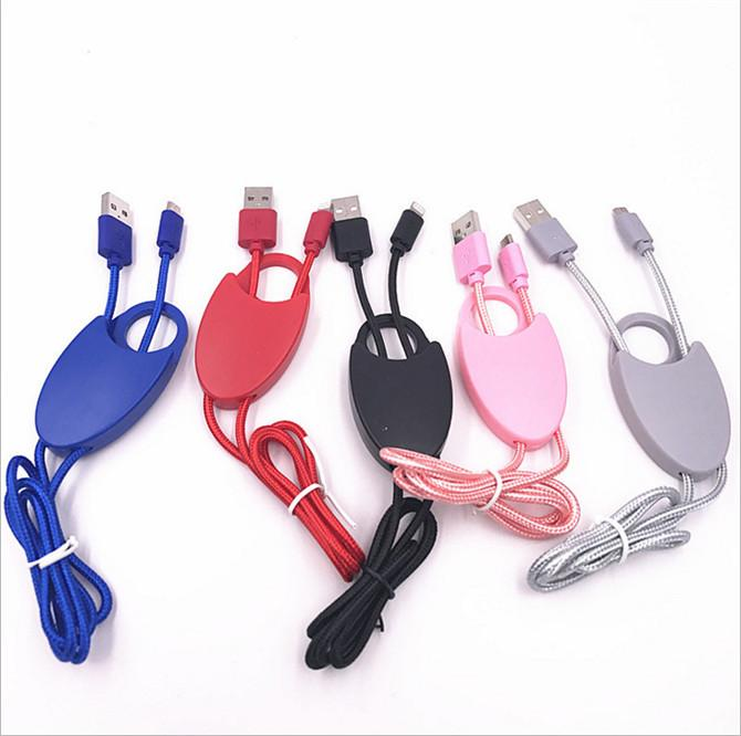 3in1 Phone Hanging Strap Nylon Micro USB Cable Detachable Straps Flexible Sling Necklace Durable Rope For Android Samsung S8 S7 Smart Phone