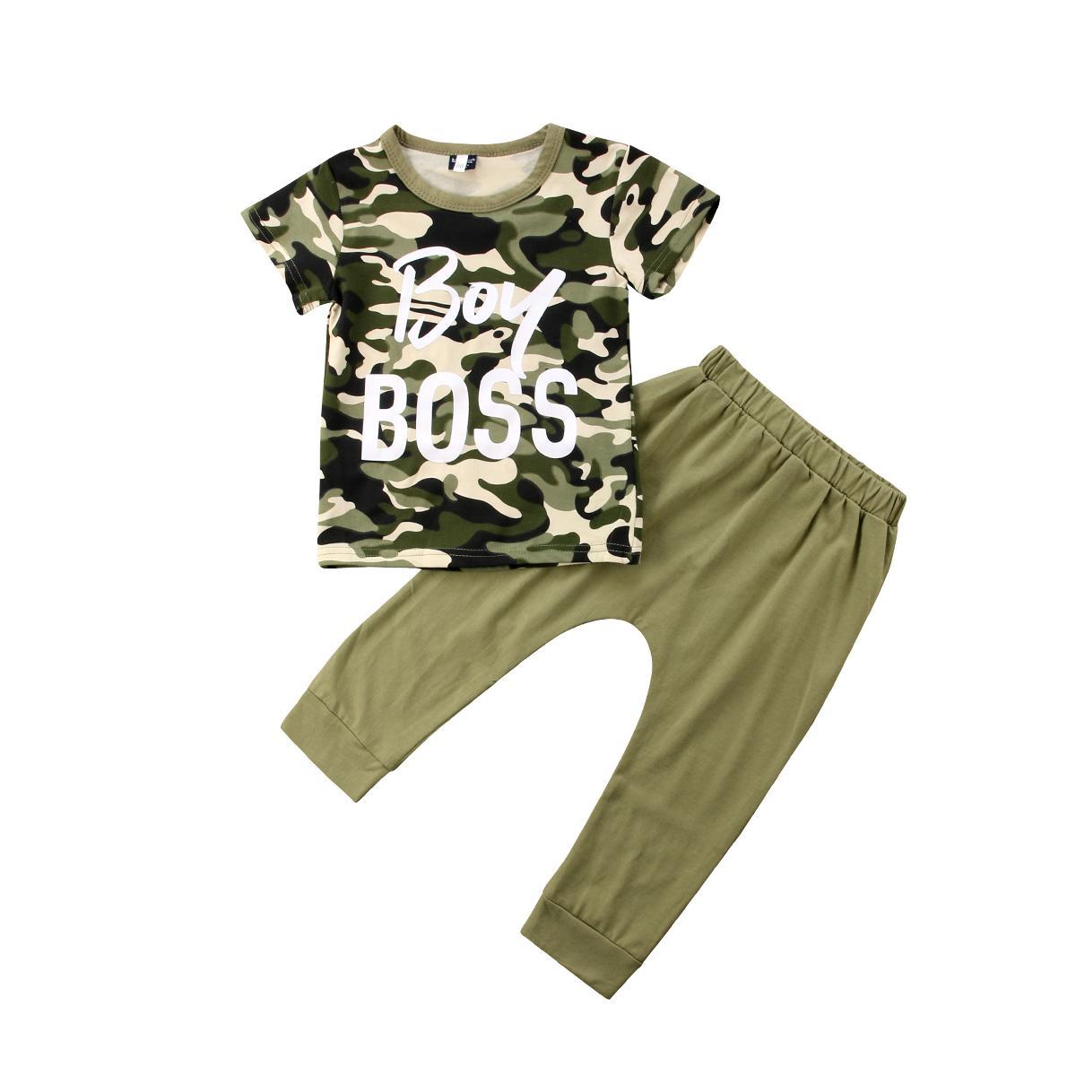 4eec3463c0374 Acheter Bambin Enfants Garçon Fille Décontractée Tops Camouflage T Shirt +  Armée Vert Pantalons Tenues Vêtements De  26.4 Du Cornemiu