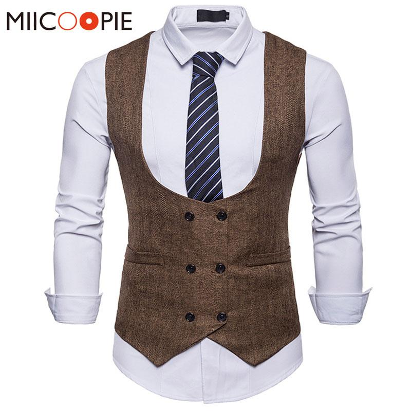 8e7f54cead8 2019 Double Breasted Suit Vest Men 2018 Fashion Tweed Sleeveless Colete  Masculino Waistcoat Gilet Men Slim Fit Wedding Business Vest From Longan08