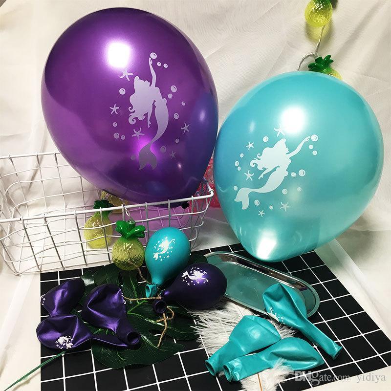 Mermaid Happy Birthday Banner Balloon Decoration 12 pollici palloncini in lattice di carta palla di fiori sirena Kid rifornimenti del partito favori