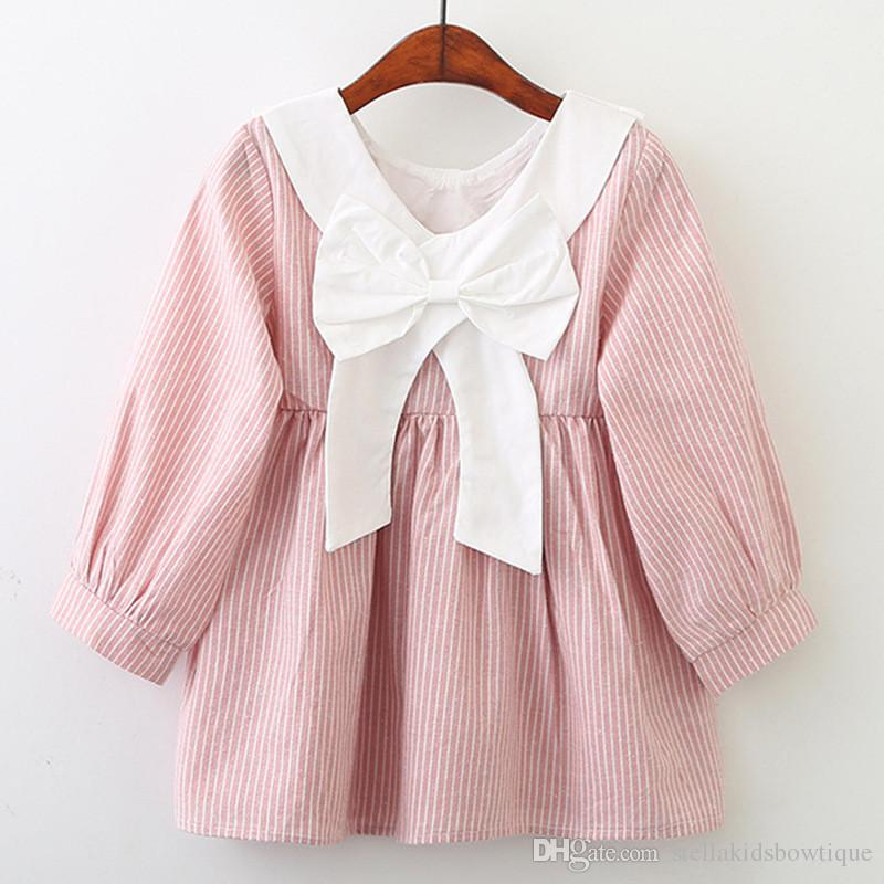 565158ed6 Fashion Spring Autumn Girls Dress Popular Striped White Collar Apron ...