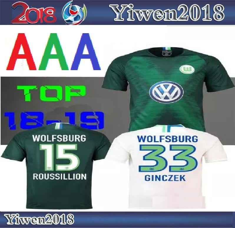 18 19 Wolfsburg Home Away Soccer Jersey 2018 2019 GINCZEK GUILAVOGUI ... 523c3bc98