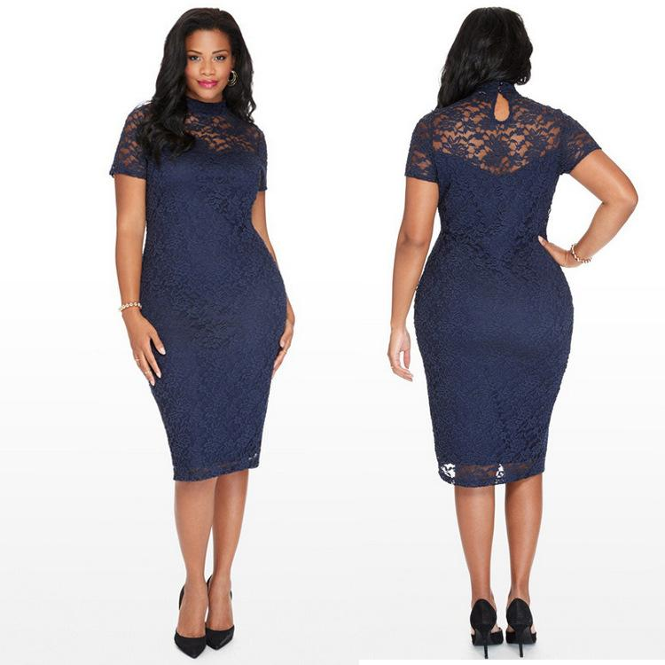 Summer Burst Large Size Short Sleeved Lace Pencil Skirt New Design