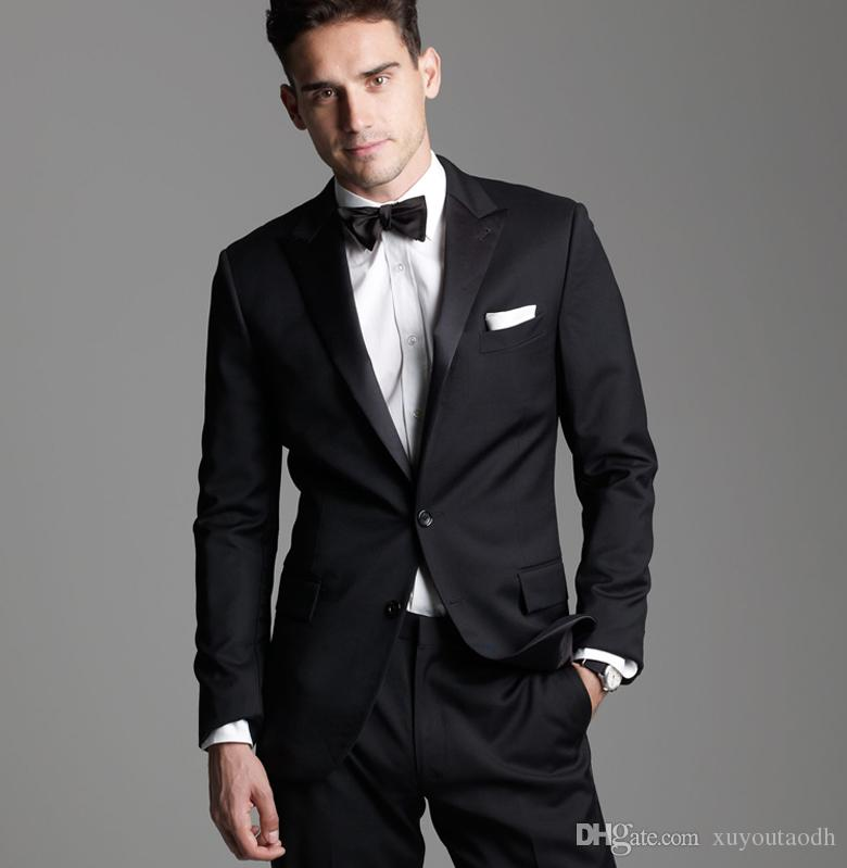 Black Men Suits Business Suit Slim Fit Formal Custom Tailored Made Groom Tailored Tuxedo Wedding Suits Blazer Terno Masculino Jacket+Pants