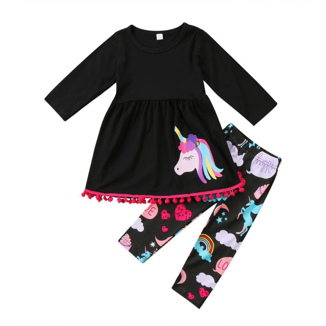 013df30cd4588 2019 2018 Fashion Cute Unicorn Holidays Kids Baby Girls Outfits Clothes T  Shirt Tops Dress+Long Pants Sets Lovely From Friendhi, $36.97 | DHgate.Com