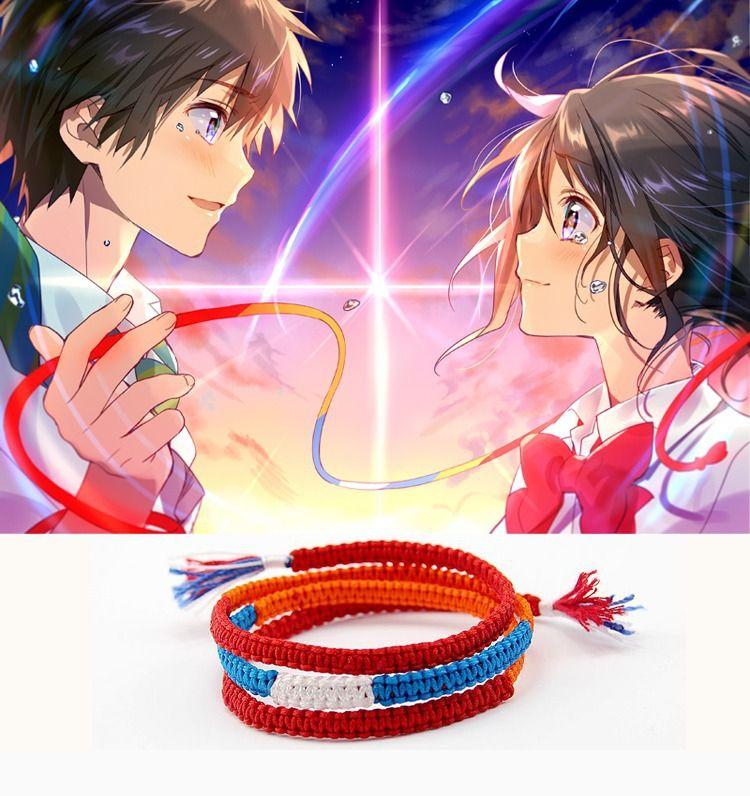 Anime japonés Kimi no Na wa Tu nombre Mitsuha Miyamizu Taki Tachibana Cosplay cuerda Pulsera adornos hechos a mano