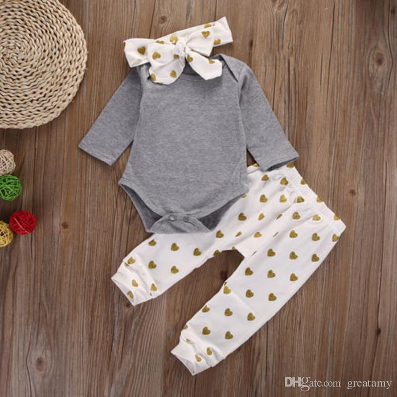 Cute newborn infant baby girls clothes T-shirt tops+pants leggings+headband outfits baby romper suit
