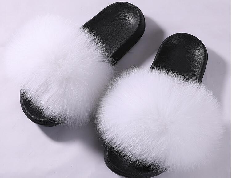 40cb1eb16 Summer Women Fox Fur Slippers Designer Flip Flops Flat Heel Shoes Fur Fuzzy  Slippers Furry Fluffy Plain Slides Feathers Superstar Booties Mens Boots  From ...