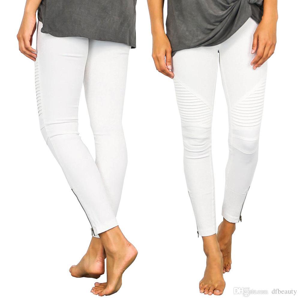 FOTOS REAIS High Street Skinny Ripped Buraco Jeans Push Up Mid Cintura Calças Senhora Casual Slim Fit Calças Compridas Lápis Denim Calças Femininas