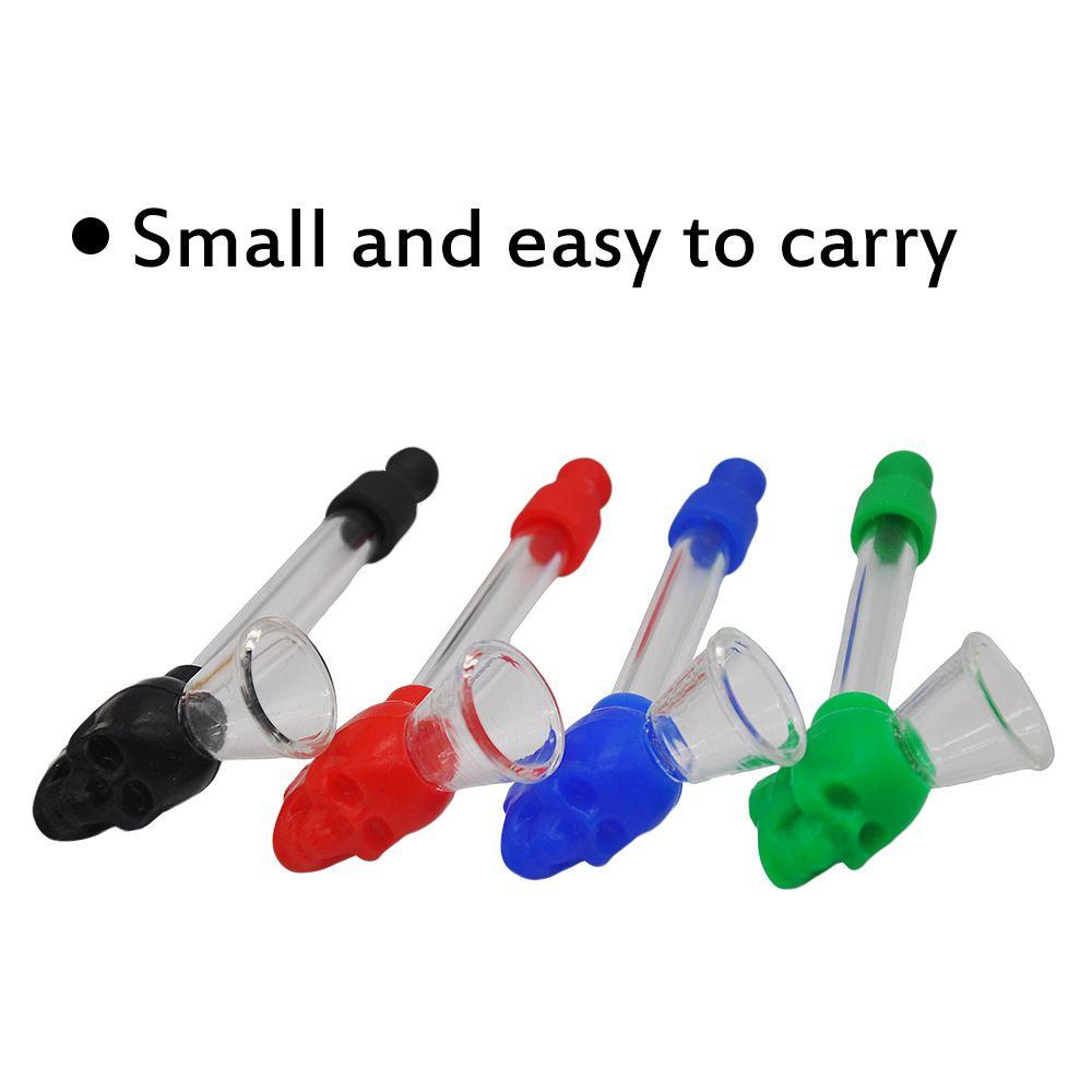 Silikon Kafatası Cam Boru Yağ Brülör için Dab Rigs Mini El Boru Ekran Cam Ambalaj ile Sigara Cam Tüp Sigara Su Borusu W08C