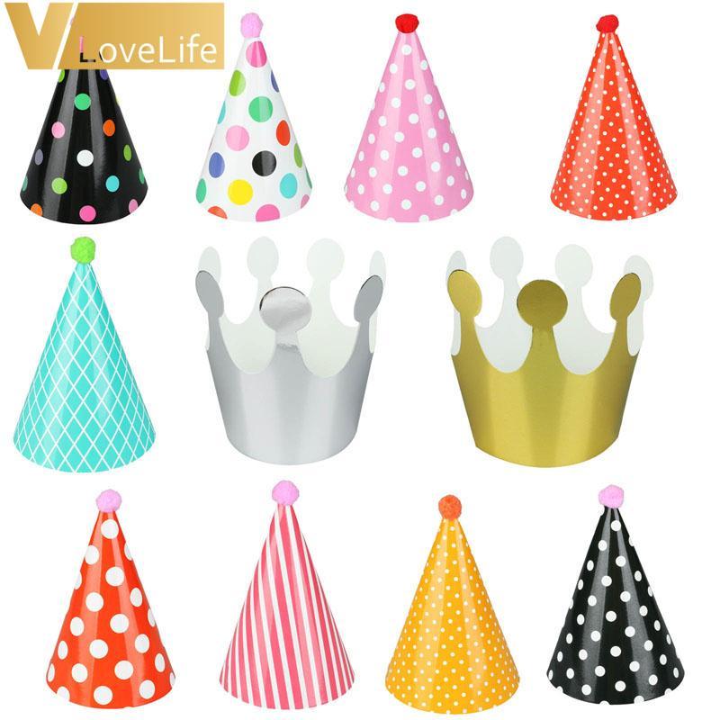 Grosshandel 11 Stucke Happy Birthday Party Hute Polka Dot DIY Nette Handgemachte Kappe Crown Dusche Baby Dekoration Junge Madchen Geschenke Liefert Von