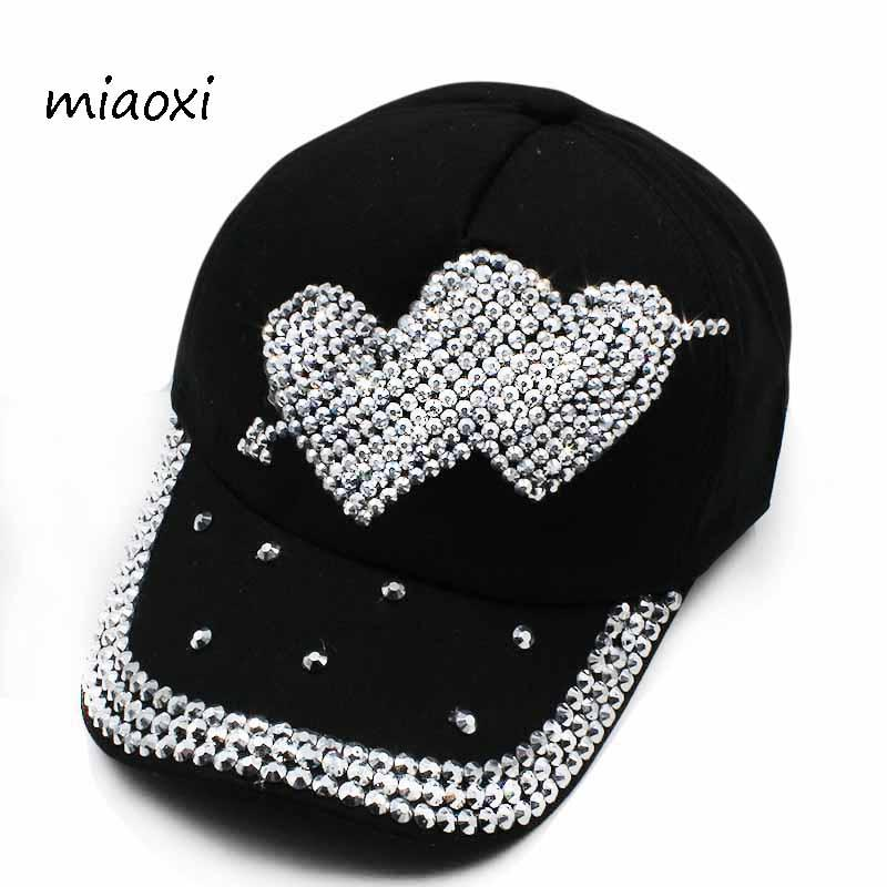 1d766cd6847 Miaoxi New Fashion Women Love Baseball Cap Adjustable Women s Beauty Sun Hat  Summer Cotton Denim Jean Lady Rhinestone Caps Brixton Hats Trucker Cap From  ...