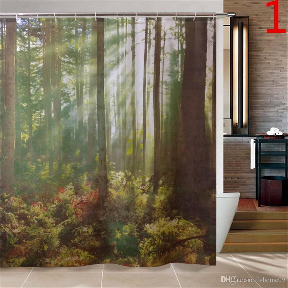 2019 Beautiful Scenery Graphics Shower Curtain Various Pattern