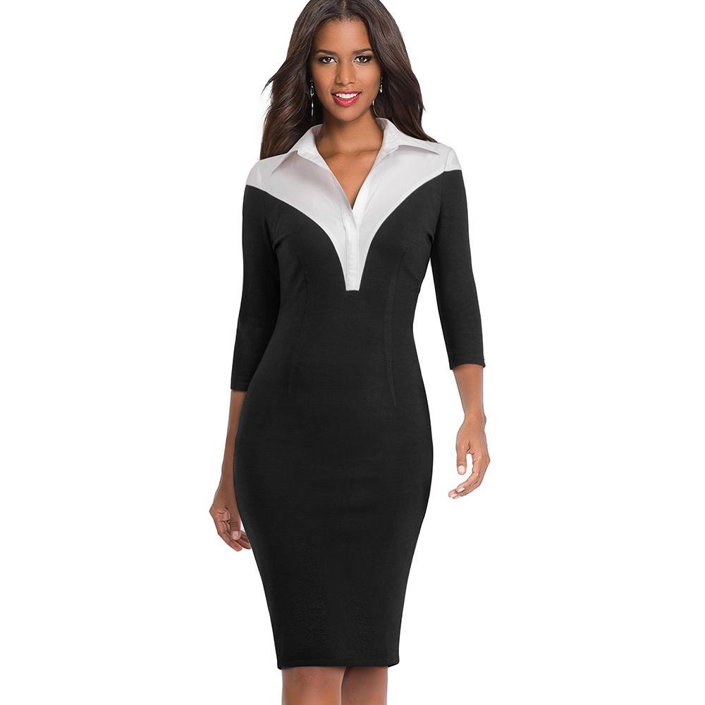 Elegant Women Vintage Patchwork Turn-down Collar Knee-Length Dress ... 15950df1ba20