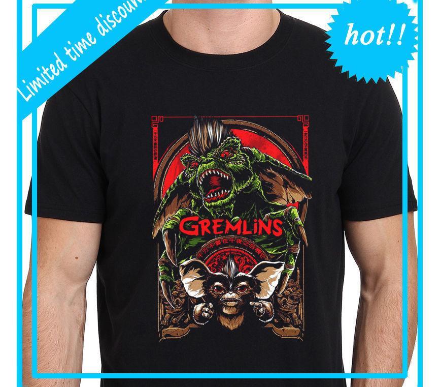 980d2533f9c GREMLINS Vintage Movie Poster Art Mannen Zwarte T Shirt S 3XL Print Tee  Mannen Korte Mouw Kleding TOP TEE 2018 Nieuwe Merk T Shirt Designer White Tee  Shirts ...