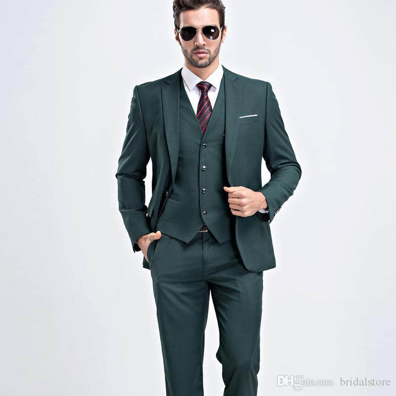 a1ab4475e Compre Impresionantes Trajes Para Hombre Verdes Para Novios Stock Tuxedos  De Bodas Con Abrigo