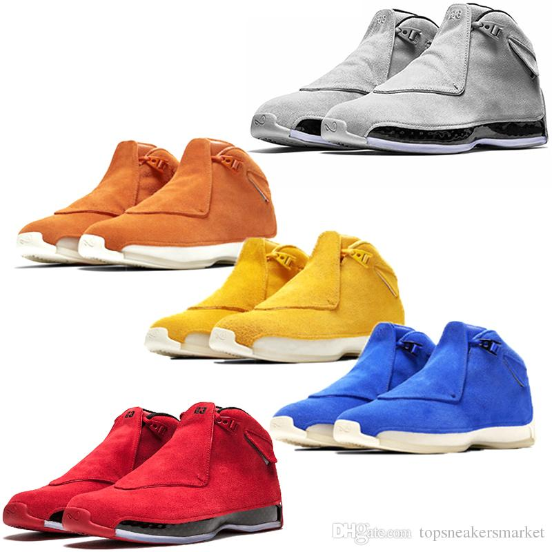 detailed look dea56 dce3d Men 18 18s Toro Basketball Shoes Red Suede Yellow Orange Blue Royal Cool  Grey OG CDP Mens Cheap Sport Trainer Athletic Sneakers 41 47 Discount Shoes  Online ...