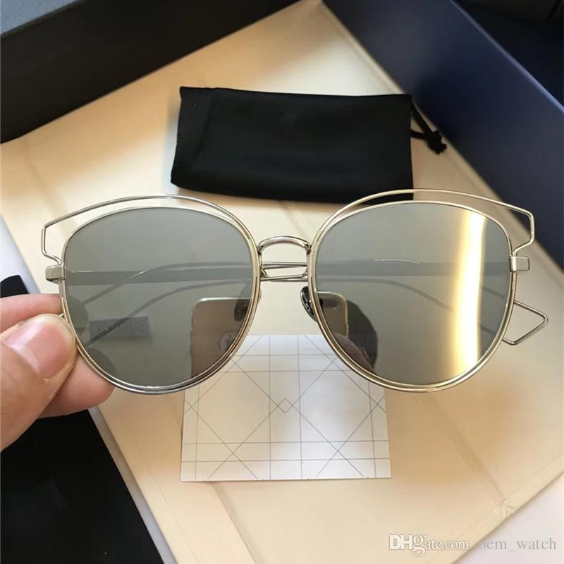 ff63405e2ee 2018 Big Frame Mirror Sunglasses Women Oversize Retro Sun Glass Luxury  Alloy Frame Sunglass Vintage Cat Eye Sunglasses For Girls With Box Cheap  Eyeglasses ...