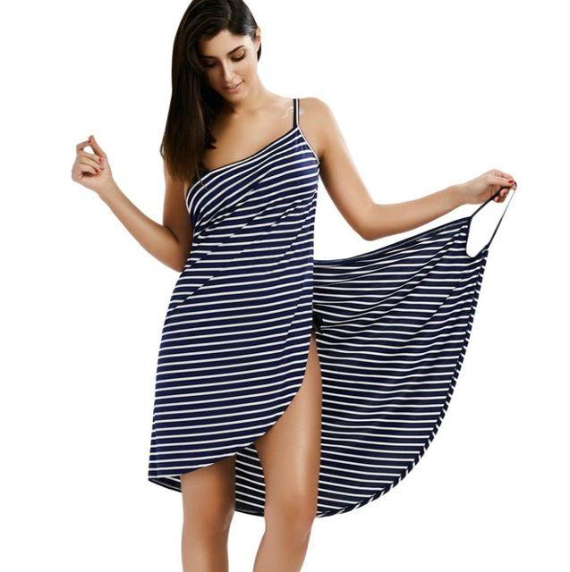 Sexy Backless Women Summer Striped Dress V -Neck Spaghetti Strap Women Knee  -Length Cover Ups Beach Dresses Vestidos Dress V -Neck Beach Dresses  Vestidos ... 2c78d718f16b