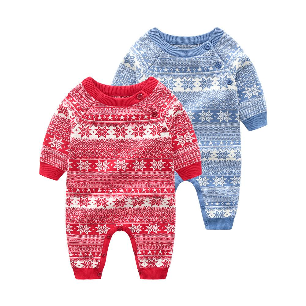b586d91115ac INS Baby Clothing Romper 100% Cotton Knitted Snowflake Design ...