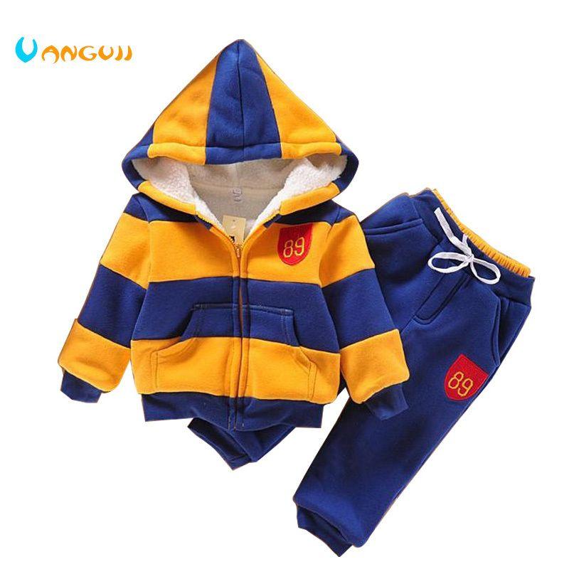 775daecca 2019 2017 Sports Suit Jacket Sweater Coat   Pants Thicken Kids ...
