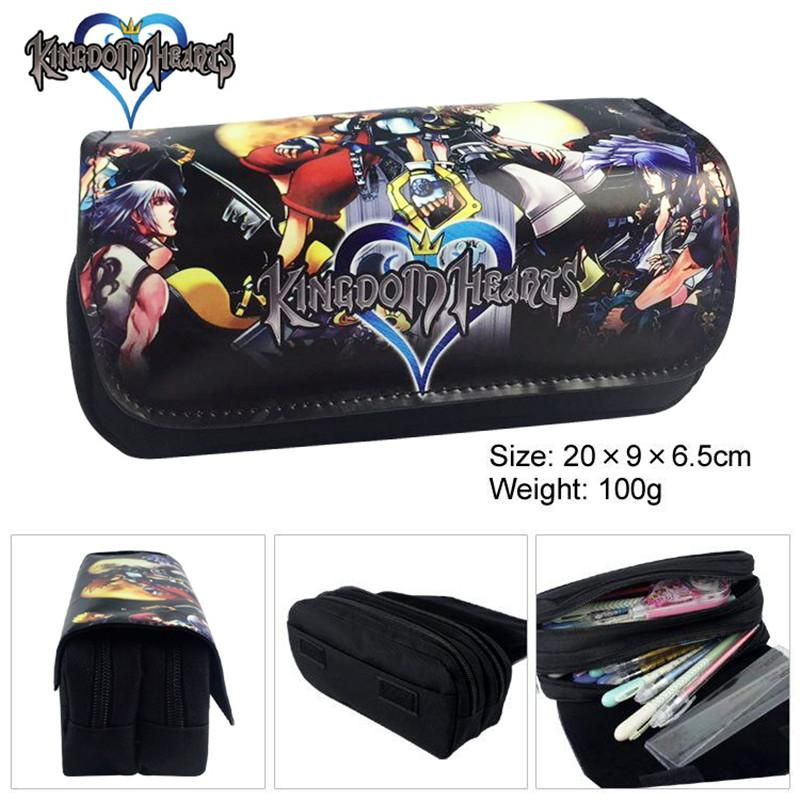 Kingdom Hearts Women Cartoon Cosmetic Cases Makeup Bag Children Pencil Case  Double Zipper Anime Bag Handbag Purse 2 colors