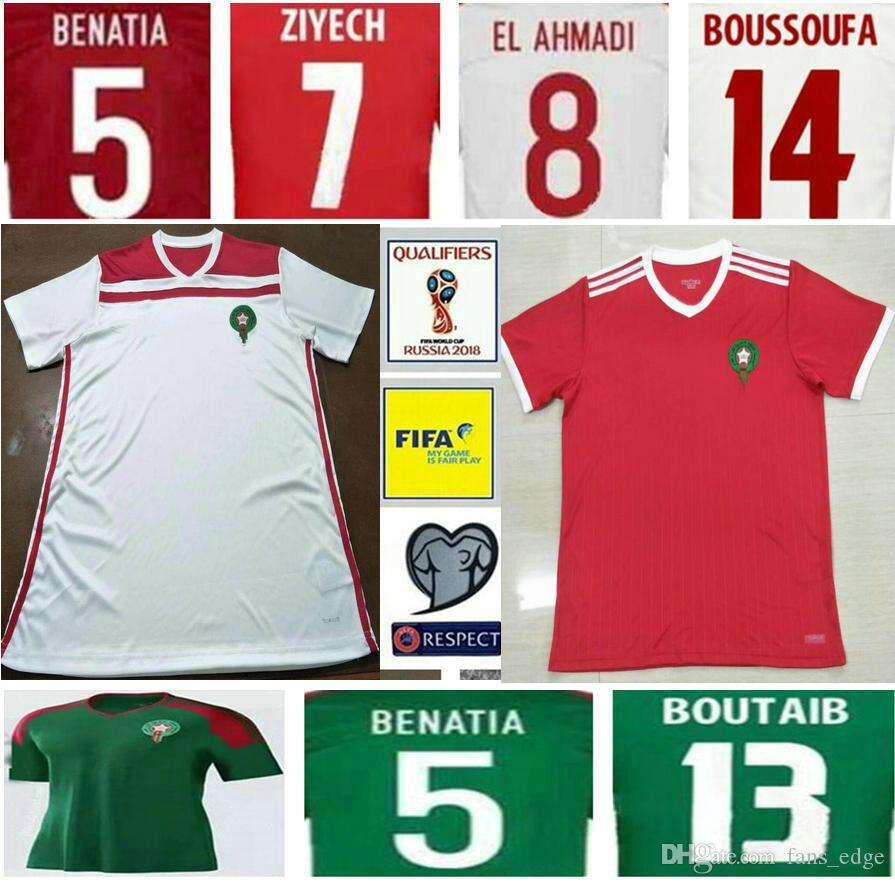 5b8a49a0a 2019 2018 World Cup Morocco Soccer Jersey ZIYECH BOUTAIB BOUSSOUFA EL  AHMADI BENATIA Blank Customize Home Road Red White Green Football Shirt  From Fans edge ...