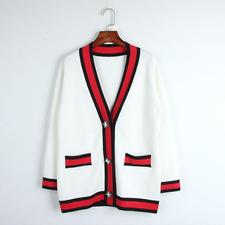 2019 2017 Classic Red Black White Stripes Cardigan High End Pearl Buckle  Loose V Neck Knit Outwear Women Ladies Chic Top Cardigan From Honjiao 3a9c71ba1