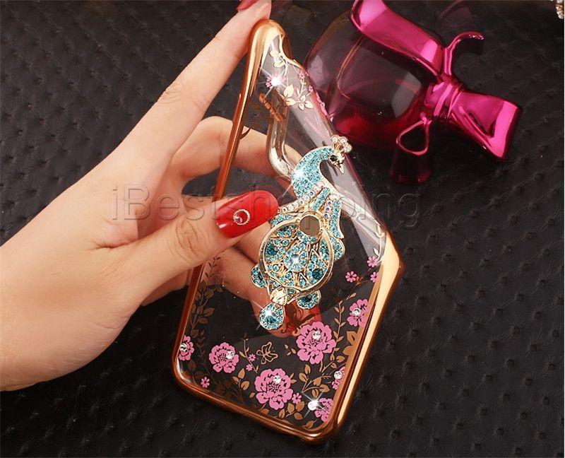 Moda Bling Diamond Ring Holder Custodia morbida Crystal flessibile TPU Cover Con Cavalletto Samsung J1 J3 J5 J7 Prime 2017 J510 J710