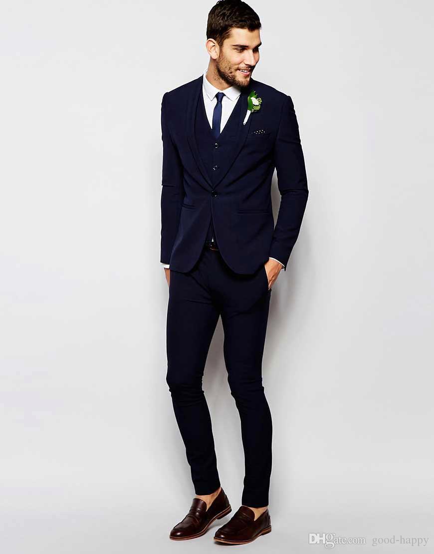 974bcdbc New Styles Navy Blue 3 Piece Suit Groom Tuxedos Bridegroom Groomsmen Blazer  Men Wedding Business Party Prom Suits(Jacket+Pants+Tie+Vest)1192