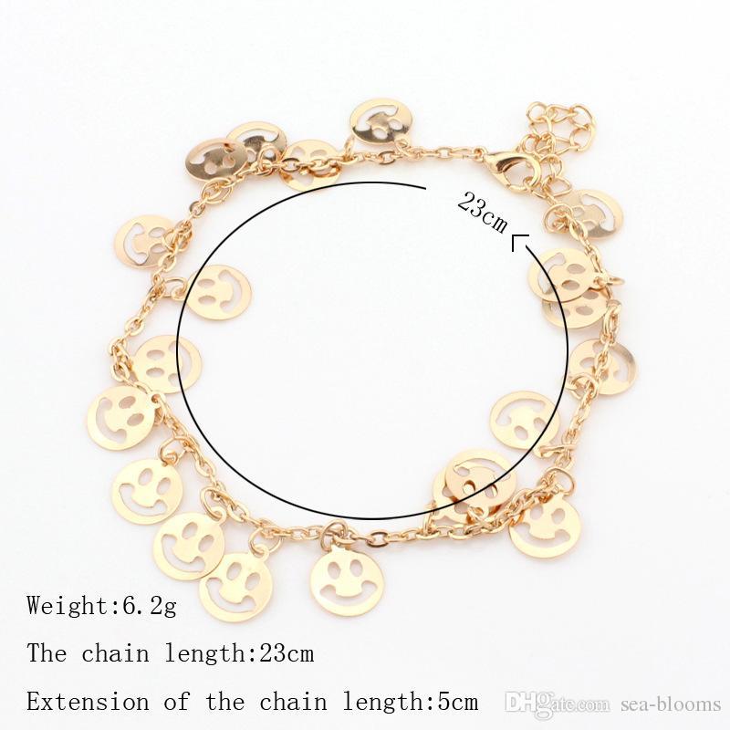 Femmes Or Couleur 3 Styles Rose Fleur Palmier Sourire Visage Bracelet De Cheville Mode Pied Bijoux Accessoires D940L